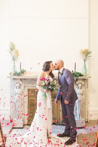 New Jersey Wedding Photographer, Wedding Ceremony Rose Petals Ideas, The cutest ceremony set up, Bride and groom throwing rose petals, Barrow Mansion Intimate Wedding, Happy Wedding Photos